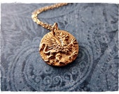 Gold Griffin Coin Necklace - Bronze Griffin Coin Charm on a Delicate 14kt Gold Filled Cable Chain or Charm Only