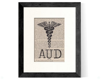 AUD Audiologists Caduceus over Vintage Medical Book Page - Audiologists Graduation Gift, Audiologists Gift, AUD Graduation, AuD Gift