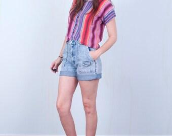 90's Acid Wash Shorts / High Waisted Denim Jean Shorts / Small