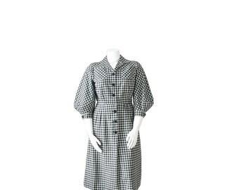 1930s Dress • 30s Plaid Day Dress • Large L