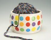Ceramic Yarn Bowl for Knitting & Crochet, Knit Happy - Fiber Twine Pottery Yarn Bowl, Polka Dots, Interior Yellow w/ Orange Speckled Flecks
