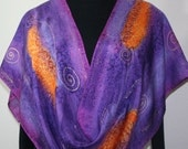Hand Painted Silk Scarf. Purple, Orange Handmade Silk Scarf, FIELD Of PANSIES. Offered in Several SIZES. Hand Dyed Scarf. Birthday Gift