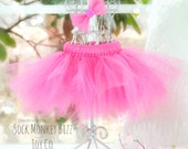 Magenta Doll Tutu and Headband for Sock Monkey Doll