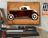 Vintage, Car, Canvas Art Print, Hot Rod, Large Canvas Wall Art, Man Cave, Decor, Car Gift, Garage Decor, Available in 18x24 or 24x36