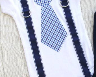 Baby Boy Tie and Suspenders (NO Leg Warmers option). Navy Blue. Cake Smash Birthday Outfit, Coming Home, Valentine's Day Easter outfit