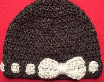 Beanie hat with a bow - crocheted - made to order
