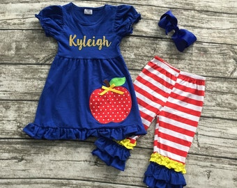 Personalized (any name) Back to school outfit top and capris