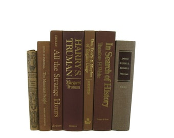 Vintage  Brown Books, Book Collection, Used Books, Color Accent, Decor, Book Lover, Gift, Book Gift, Decorative Books, Used Book Set