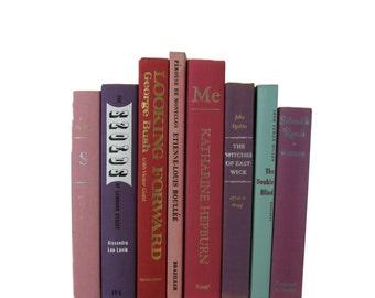 Purple Green Decorative Books , Vintage Book Decor ,  Photo Prop , Bookshelf Decor  , Home Decor , Old Book Decor ,