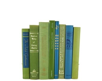 Green  Blue Vintage Decorative Book Set for Book Home Decor , Gift for Book Lover , Wedding Decor and Photo Prop