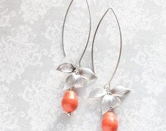 Silver Orchid Dangle Earrings Flower Coral Pearl Earrings Bridal Jewelry Bridemaids Gift Summer Fashion Orange Earrings Nickel Free