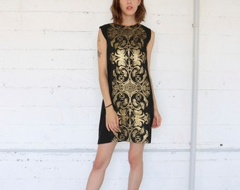 70s black and gold Grecian tunic mini dress, sleeveless shift, bohemian boho, womens small
