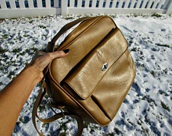 Vintage Samsonite Carry-On Bag - Vegan Friendly - Classy Tan Faux Leather Messenger Bag - Excellent Exterior - Samsonite Silhouette Bag