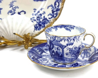 Antique Royal Crown Derby - Mikado Blue Tea Cup, English Tea Set, Bone China Tea Cup, c1910s