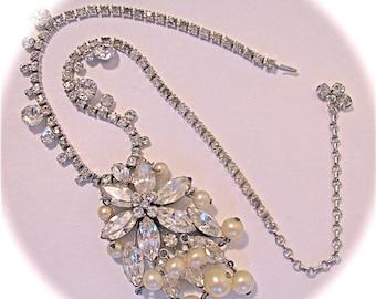Vintage GLAM HATTIE CARNEGIE Statement 1950s Demi Parure Diamonds And Pearls Choker Necklace Clip On Earrings
