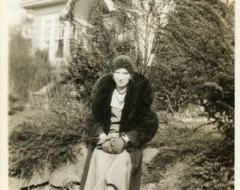 "Snapshot Photo ""She Brings the Fall Fashion"" Girl Wearing Fur Winter Coat Jacket Fashionable Woman Stylish Hat Vintage Photograph - 10"