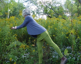 Organic Clothing Skirted Wool Leggings Organic Merino Wool Leaf Green Merino Wool Yoga Runner Eileen Fisher Cold Weather Hiking Mountains