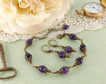 Victorian Jewelry Set, AMETHYST GEMSTONE, Purple Antique Brass Bracelet Earrings, Amethyst Jewelry, Victorian Jewelry Victorian Curiosities