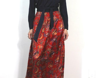 Vintage 70s Boho Dress Red Floral Fall Magic Dress