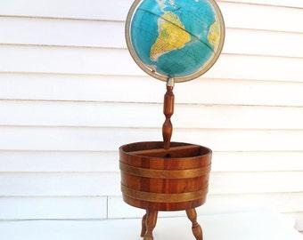 Vintage Globe | Floor Globe | Wood Magazine Stand | Wooden Basket | Wood Planter |Rand McNally Globe