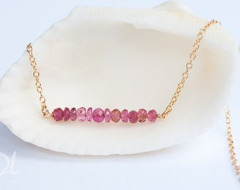 Pink Tourmaline Necklace - October Birthstone Gemstone Bar Necklaces -  Layered Necklace - Delicate Necklace - Minimal Gemstone Necklace