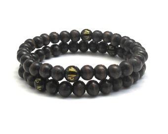 Mens Inspirational Jewelry, Buddhist Inspiring Om Mantra Wood Bracelet, Men Beaded Bracelet, Mala Beads, Yoga Mediatiaon Prayer Worry Beads