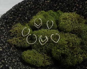 Complete Septum Ring Set - 8 Sterling silver faux septum rings