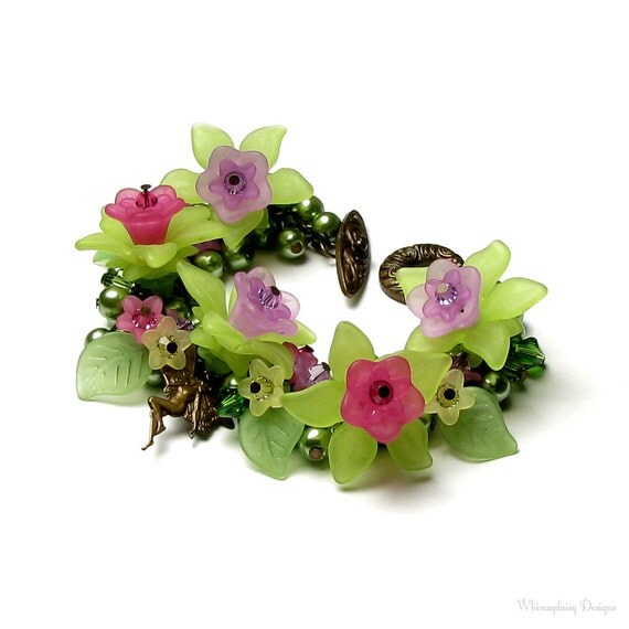 Fairy Garden, Hot Pink Lime Green Purple, Antique Brass, Swarovski Crystal, Pearl Cluster Floral Charm Bracelet, Fairy Bracelet, Fairy Charm