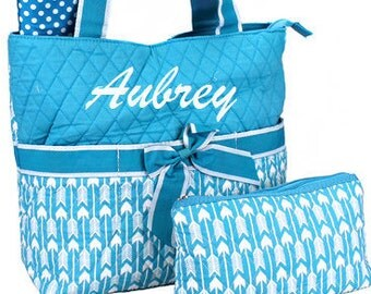 Personalized Diaper Bag Diaper Set Monogrammed Tote Bag Arrows