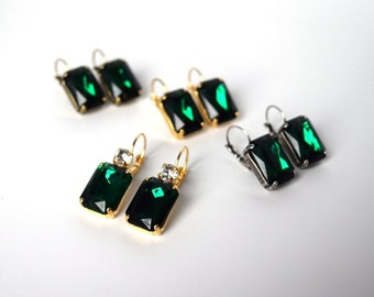 Emerald Earrings, Emerald Crystal Earring, Emerald  Earring, Angelina Jolie, Green Crystal Earring, Green Statement Earring, Red Carpet
