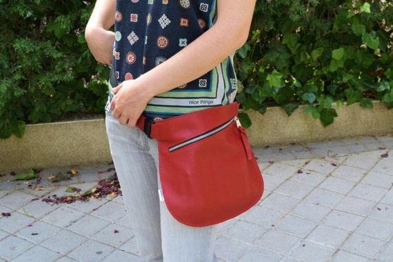 Belt bag,leather waist bag,hip leather bag,fanny pack leather,red leather bag,hip belt bag,rider leather bag,red leather fanny,zipper waist