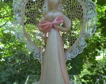 Vintage Angel Vintage Christmas Angel Reed & Lace Angel with Pink Ribbon and Long Blonde Hair