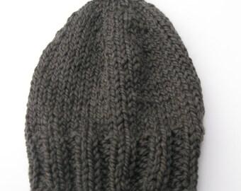 Pom pom bulky wool hat slate grey hand knitted