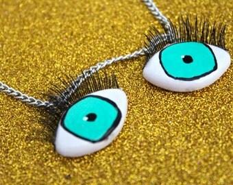 Eyeball Necklace / Eye Necklace with Eyelashes / Hand Painted Necklace / Eyes / Kitschy / Creepy / Wearable Art / Eyelashes / Green Eyes
