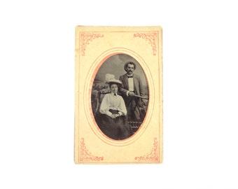 Vintage Tintype Photo of Couple / Husband and Wife Tintype / Man Woman Tintype Photograph