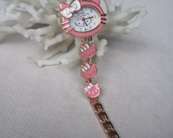 Pink n White Enameled Kitty Girls Gift Bracelet Watch