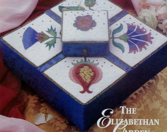 The Nostalgic Needle Sharon Cohen ELIZABETHAN GARDEN BOX Needle Necessary - Counted Cross Stitch Pattern Chart- fam