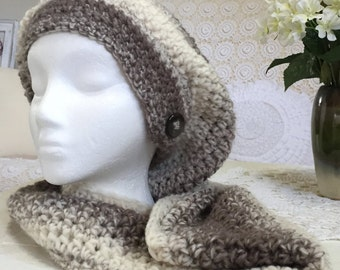 Crocheted slouchy and cowl