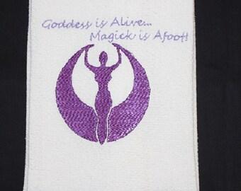 Goddess Tea Towel, colorful, magickal, kitchen, housewarming gift