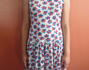 Vintage Multi Color Mini Floral Print Fit and Flare Dress with Cut Out Back