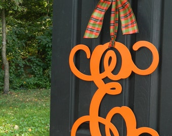 Monogram Wreath - Fall Wreath - Autumn Decoration - Couples Gift -You Choose Color