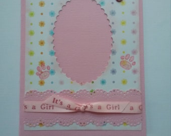 Handcrafted Girl New Puppy announcement card with opening for photo.