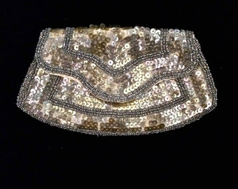Vintage 20s 30s Art Deco GOLD SEQUIN Evening Purse w Beaded Detail // Czechoslovakian Made