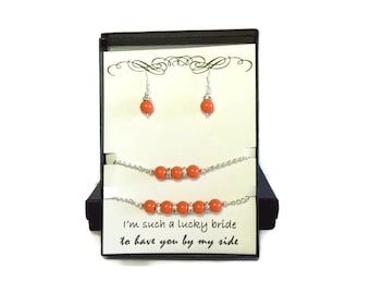 Bridesmaid Gift Bridesmaid Jewelry Coral Wedding Coral Wedding Jewelry Peach Bridesmaid Jewelry Pearl Coral Necklace Bracelet Pearl Earrings