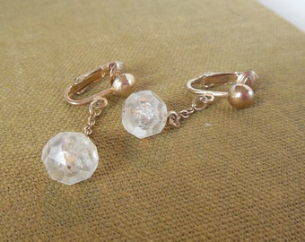 Vintage Sarah Coventry Clip Earrings Gold Clear Dangle 70's (item 152)