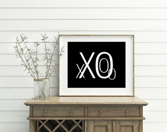 XO print, XO art, black and white, modern wall decor