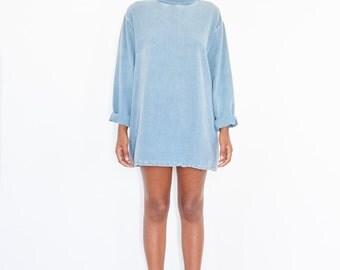 90s Washed Blue Cotton Turtleneck Shirt