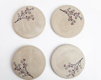 Concrete Coasters, Cherry Blossom, Round Concrete Coaster, Industrial Coaster, Housewarming Gift, Gift for Her, Rustic Coaster, Wedding Gift