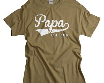 Gifts for Papa - New Father Gift - Papa est 2016 Shirt for Dads - Dad Tshirts
