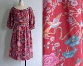 Vintage 80's Orientalist Chinoiserie Bird & Floral Blouson Dress L XL XXL